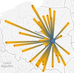 dane na mapie Polski