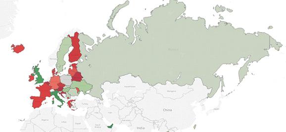 dane na mapie świata